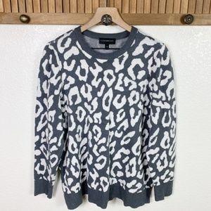 Lane Bryant Grey Leopard Print Crewneck Sweater